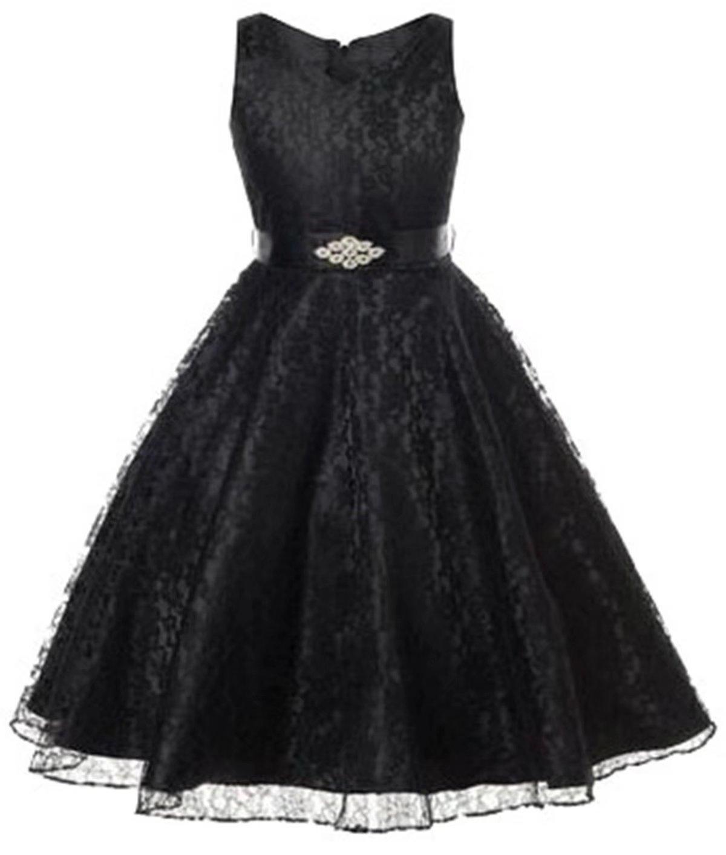 Betusline Little Girls Birthday Party Wedding Princess Lace Dresses Black