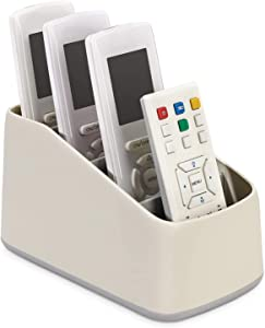 MoKo Remote Controller Box, Plastic TV Remote Control Holder Home Office Organizer Caddy Tray Desktop Storage Container 4 Compartments for Remote Controllers, Office Supplies, Media Accessory, Gray