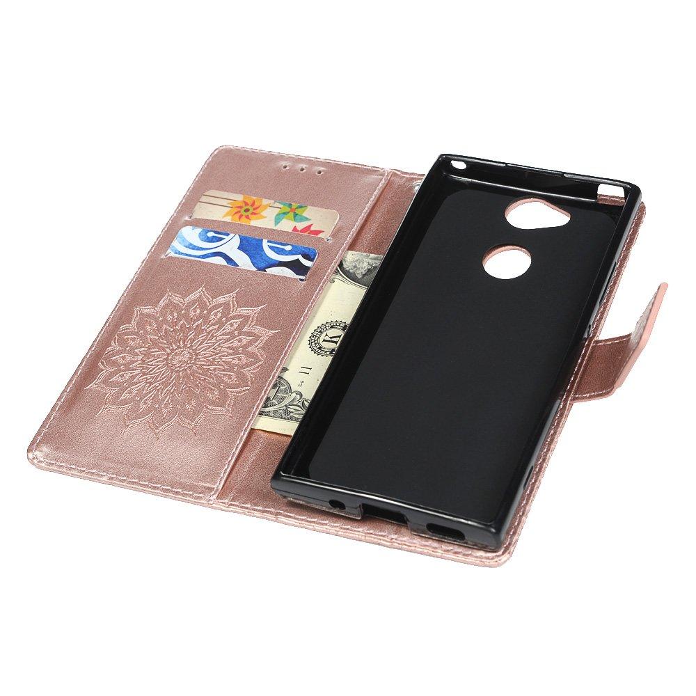 Yokirin Sony Xperia XA2/casse del telefono girasole goffrato PU casi supporto pieghevole in Flip Cover con supporti di carta e spina della polvere Sony XA2