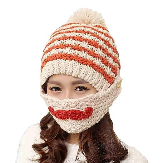 56022ea521b wintefei Women Stripe Knit Crochet Beanie Hat Winter Warm Cap with  Moustache Face Mask - Beige