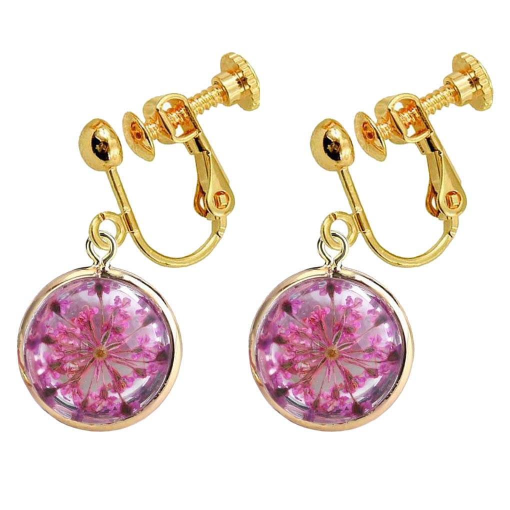 Pressed Flower Round Clip onrings Natural Dried Plant Rose Flowers Dangle Drop Gold Plated