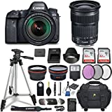 Canon EOS 6D Mark II DSLR Camera w/Lens Bundle including EF 24-105mm f/3.5-5.6 IS STM + 2.2x Telephoto & 0.43x Aux Wide Angle Lens + 2Pcs 32GB SD + Accessories with Premium Commander Kit (28 Items)