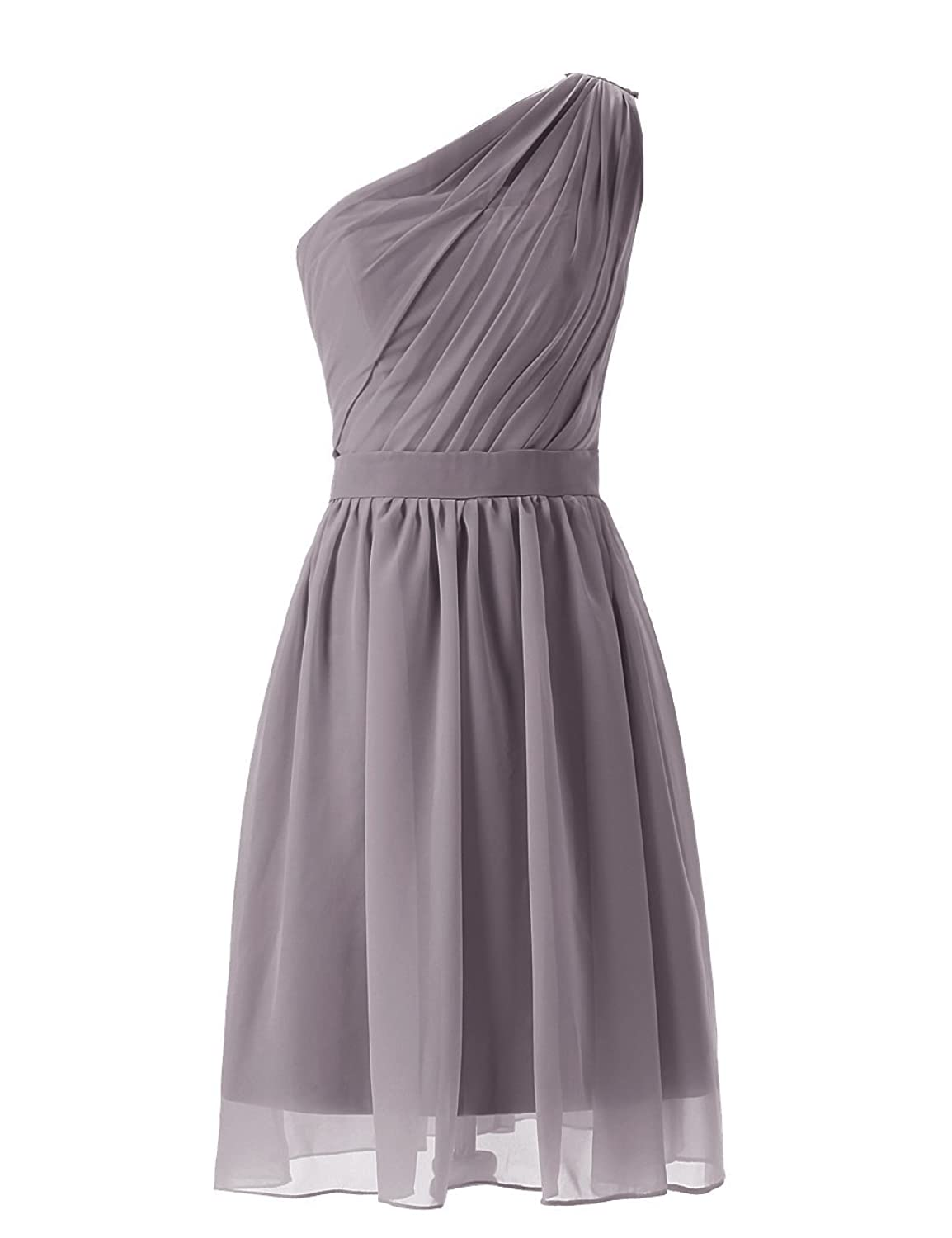 Olidress Women's Simple Chiffon One Shoulder Short Bridesmaid Dress