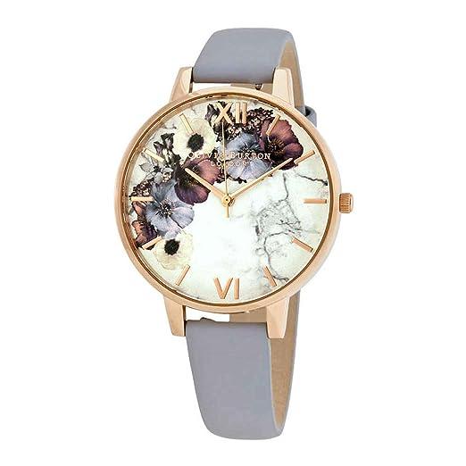 Olivia Burton Reloj Analógico para Mujer de Cuarzo con Correa en Cuero OB16MF10: Amazon.es: Relojes