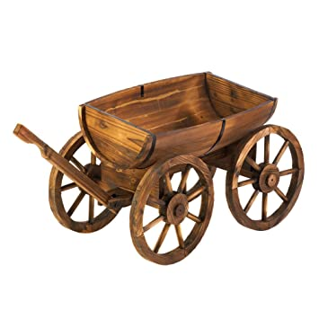 Wood Wine Whiskey Barrel Wagon Flower Garden Outdoor Planter Plant Pot Stand