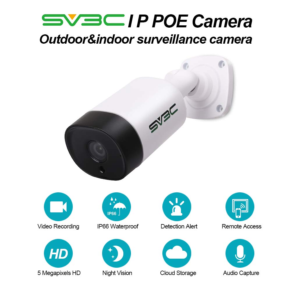IP POE Camera, SV3C 5 Megapixels HD Security IP Camera Outdoor Indoor Video Surveillance, Outdoor POE Camera System Support Onvif, IR Night Vision, Motion Detection, Waterproof, Remote Viewed by sv3c (Image #2)