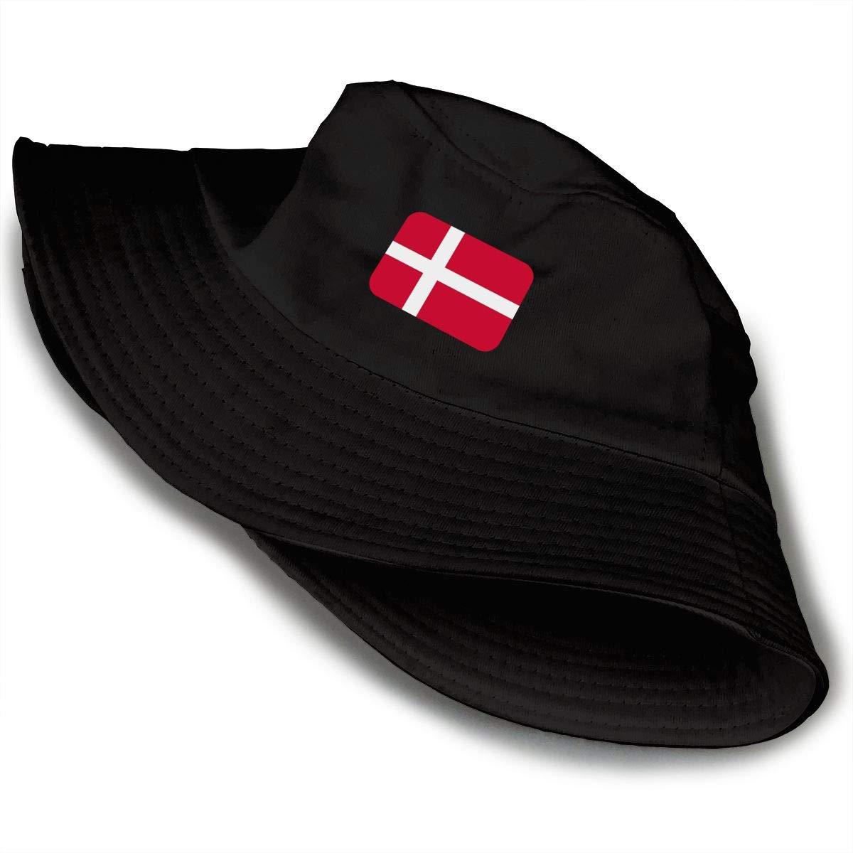 NDFGR Denmark Unisex Cotton Packable Black Travel Bucket Hat Fishing Cap