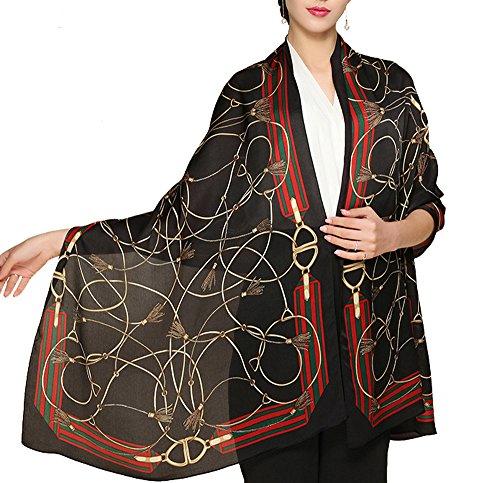"Butterfly Rose 100% Mulberry Silk Fashion Pattern Long Scarf Shawl Wrap 71"" X 28"" (S7 Black)"