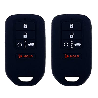 Henzxi Silicone Key Fob Cover Case Keyless Remote Skin Jacket Holder Full Protector 2 Pack for A2C81642600 2020 2020 2016 2015 Honda Accord Civic CR-V Pilot EX EX-L Touring Premium (Black: Car Electronics [5Bkhe0115166]