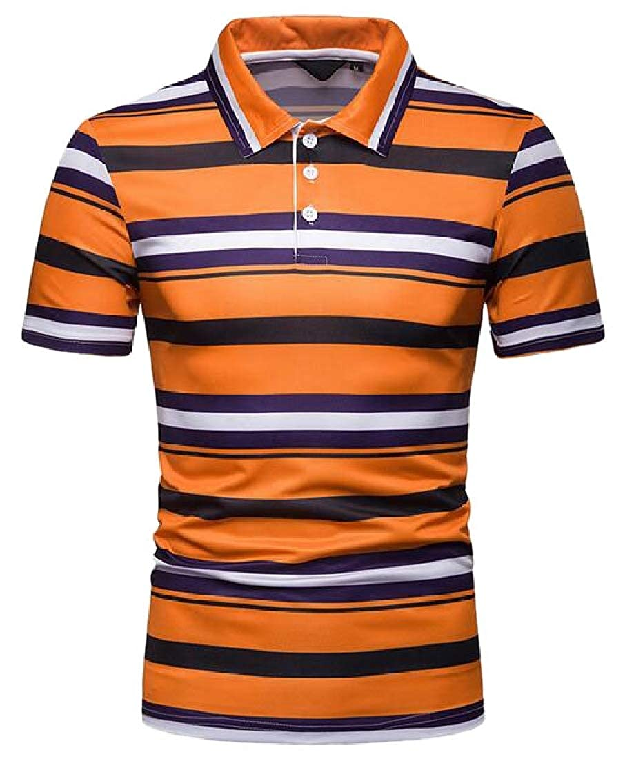 M/&S/&W Mens Fashion Stripe Polo Shirts Patchwork Short Sleeve T-Shirts