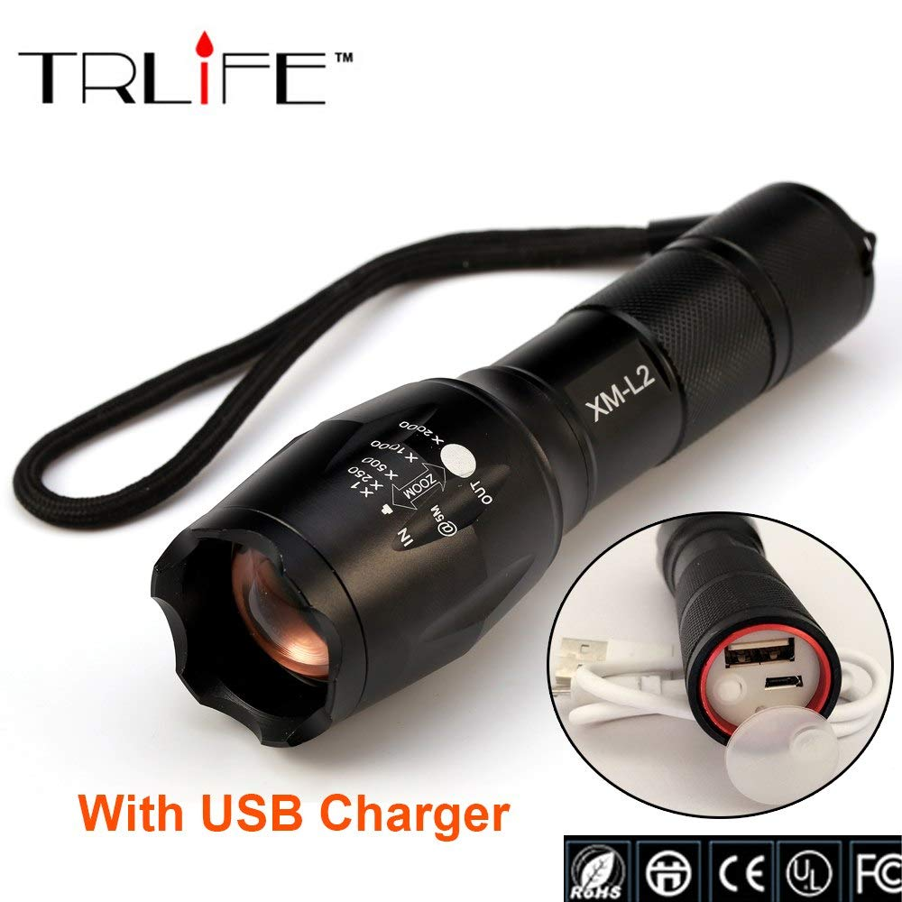 USB E17 8000 Lumen 3-Mode CREE XM-L L2 LED-Taschenlampe, Zoomable Focus Taschenlampe mit wiederaufladbarem Li-Po Akku USB Ladegerät