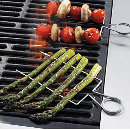 4pcs/set Stainless Steel BBQ Grill Skewers - Veggie Double Wide Clips, Asparagus Churrasco Accessories, Barbecue Bakeware Cooking Tools, Easy Clean, Non-stick