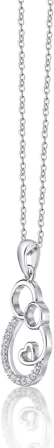18 Inches Sterling Silver 11mm Cubic Zirconia Mother and Child Heart Pendant