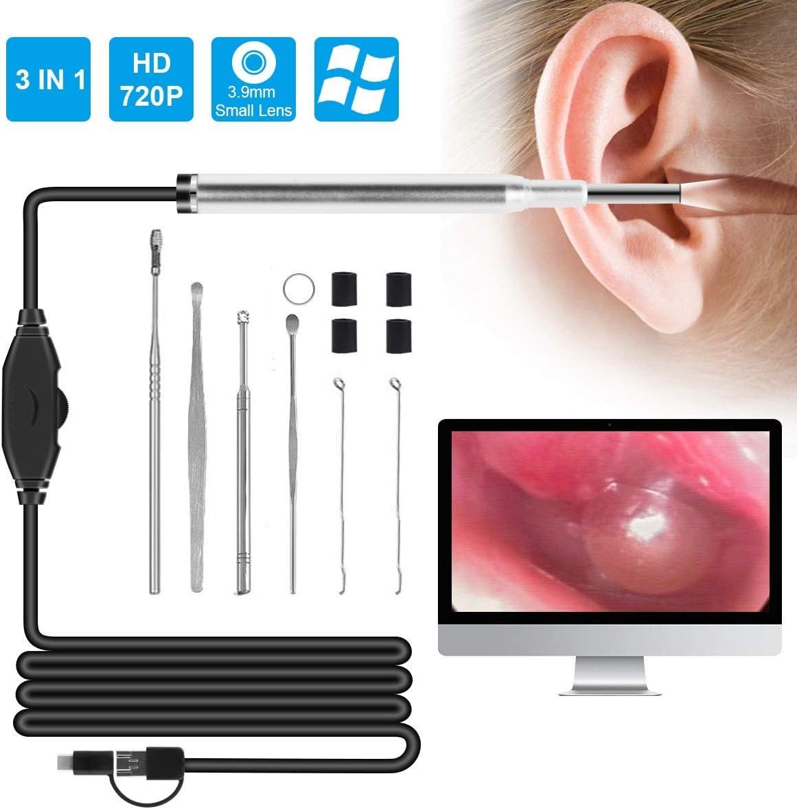 Ruiqas 720P HD Otoscopio con Lente de 3,9 mm USB de Carga 6 LED de Limpieza de oídos endoscopio cámara Visual Herramienta de selección de Oreja cámara de inspección boroscopio