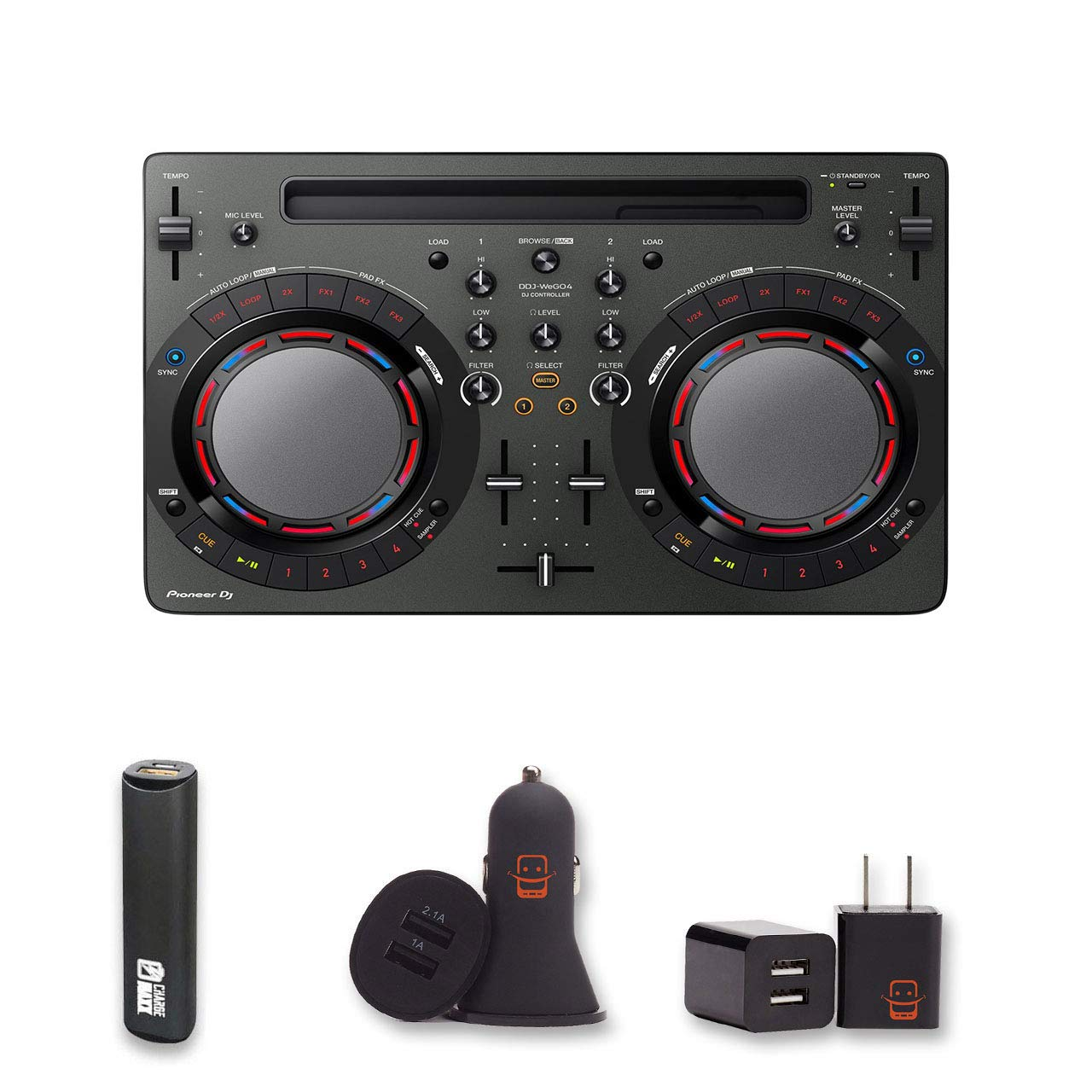 Pioneer Dj Ddj Wego4 K Controller Black With 2 Year Automobile Interior Lights Fader Warranty Powerbank Usb Car Charger Wall Ezee Bundle Musical