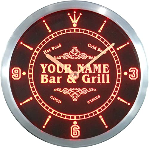 ADVPRO ncu33013-r OCON Family Name Bar Grill Cold Beer Neon Sign LED Wall Clock