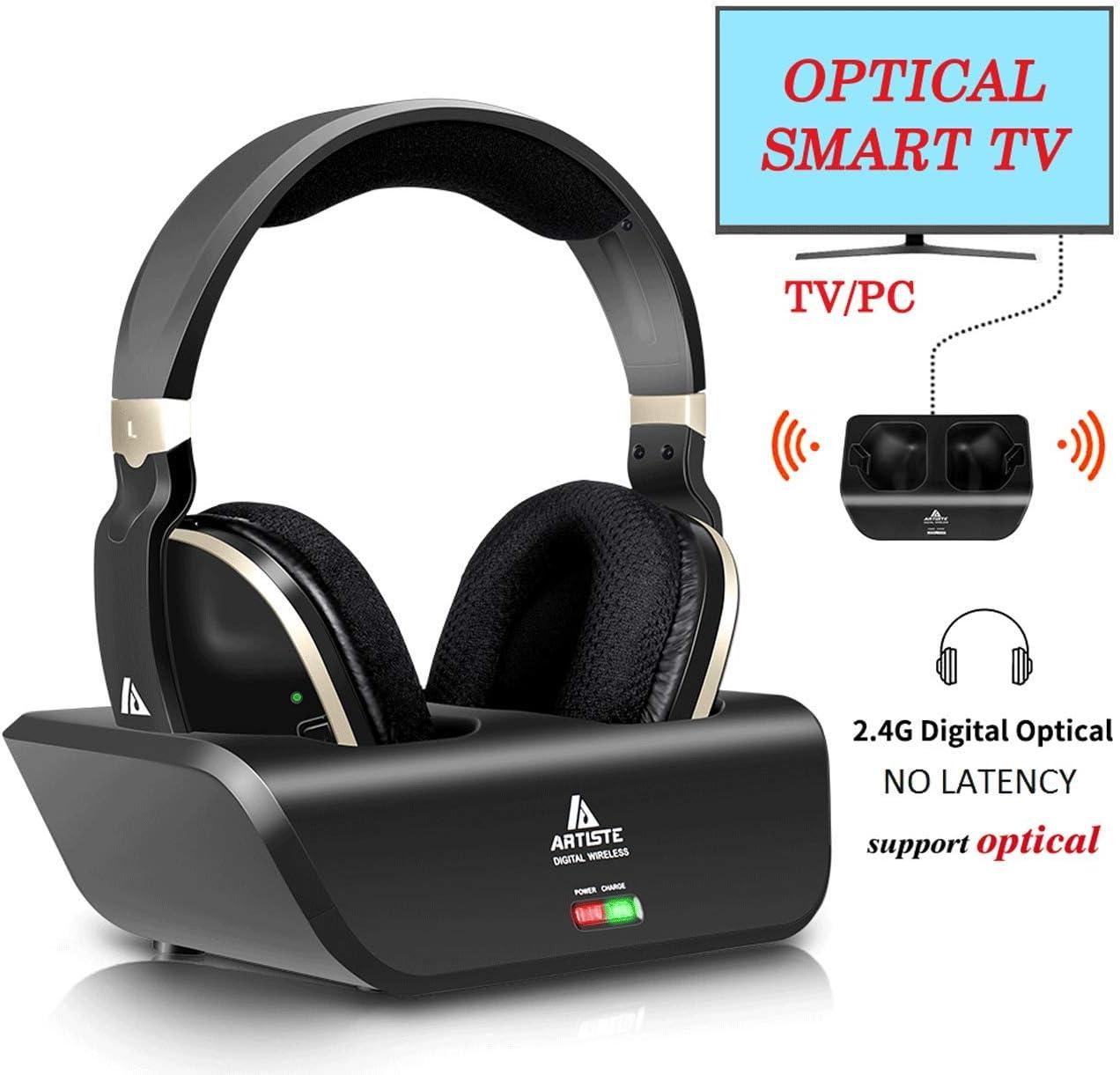 Ansten - Auriculares de diadema inalámbricos para TV, estéreo, con base de carga, transmisor RF de 2,4 GHz, sin latencia, tiempo de reproducción de 20 horas, para TV, PC, móvil, MP3: Amazon.es: Electrónica