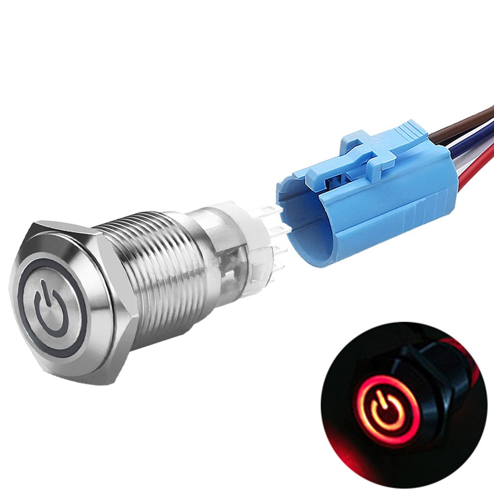 DaierTek Metal Push Button Switch 1NO1NC SPDT Momentary Waterproof 1NO1NC SPDT ON OFF 5 Pin Silver Stainless Steel with Blue Ring LED Light for 16mm Mounting Hole