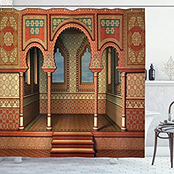 Arabesque Shower Curtain by Ambesonne, Middle Eastern Oriental Style Interior Palace Architecture Vintage Art Design, Fabric Bathroom Decor Set with Hooks, 70 Inches, Golden Red