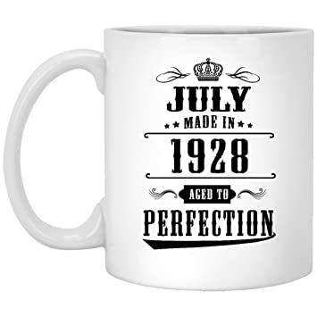 90th Birthday Coffee Mug 90 Year Old Gifts July Since 1928 Aged To