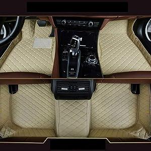 8X-SPEED Custom Car Floor Mats Fit for BMW 4 Series F33 F32 F36 420i 425i 428i 430i 435i 440i 2014-2017 Full Coverage All Weather Protection Waterproof Non-Slip Leather Liner Set Beige