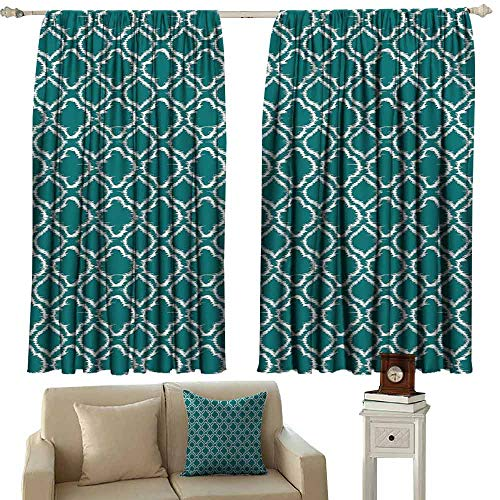 Windshield Curtain Teal Traditional Ikat Style Pattern with Abstract Curves Oval Shapes Moroccan Inspiration Tie Up Window Drapes Living Room W63 xL45 Teal White