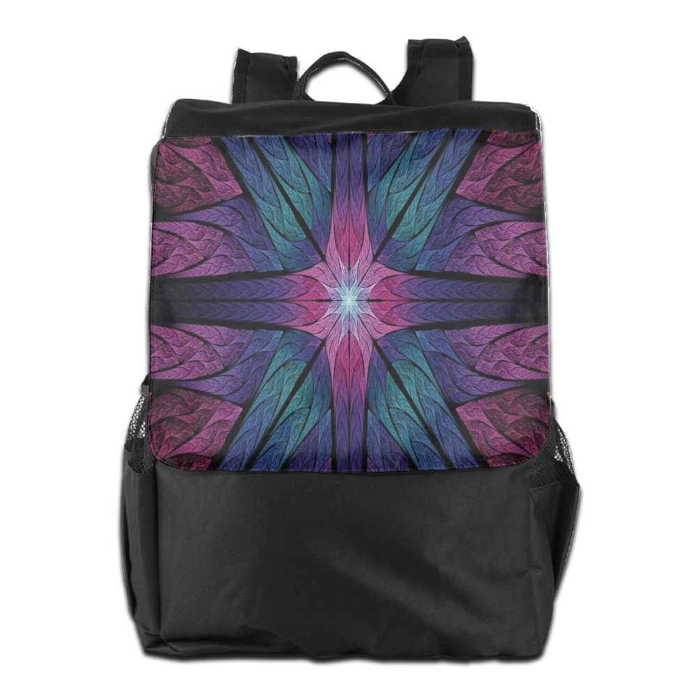 Newfood Ss Psychedelic Colorful Sacred Symmetrical Stained Glass Figure Vibrant Artsy Outdoor Travel Backpack Bag For Men And Women