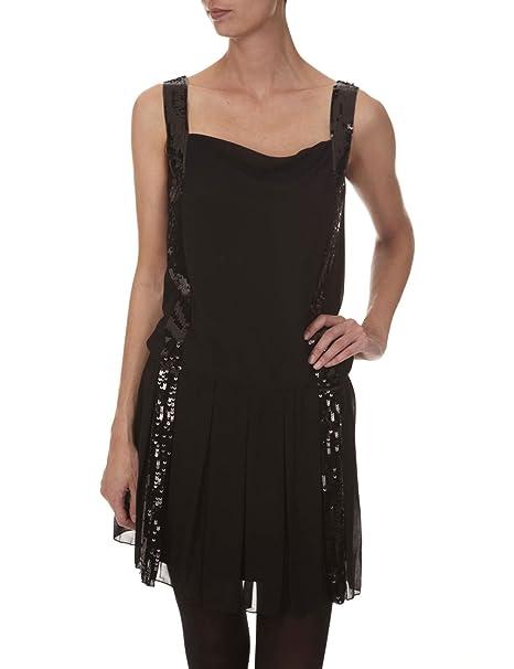 Morgan - Vestido plisado para mujer, talla 36, color Negro