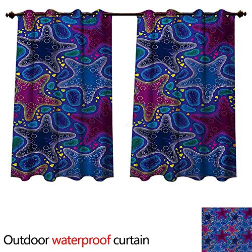 WilliamsDecor Psychedelic Home Patio Outdoor Curtain Dotted Starfish and Pebbles Maritime Theme Aquatic Animal Pattern Print W63 x L72(160cm x 183cm)