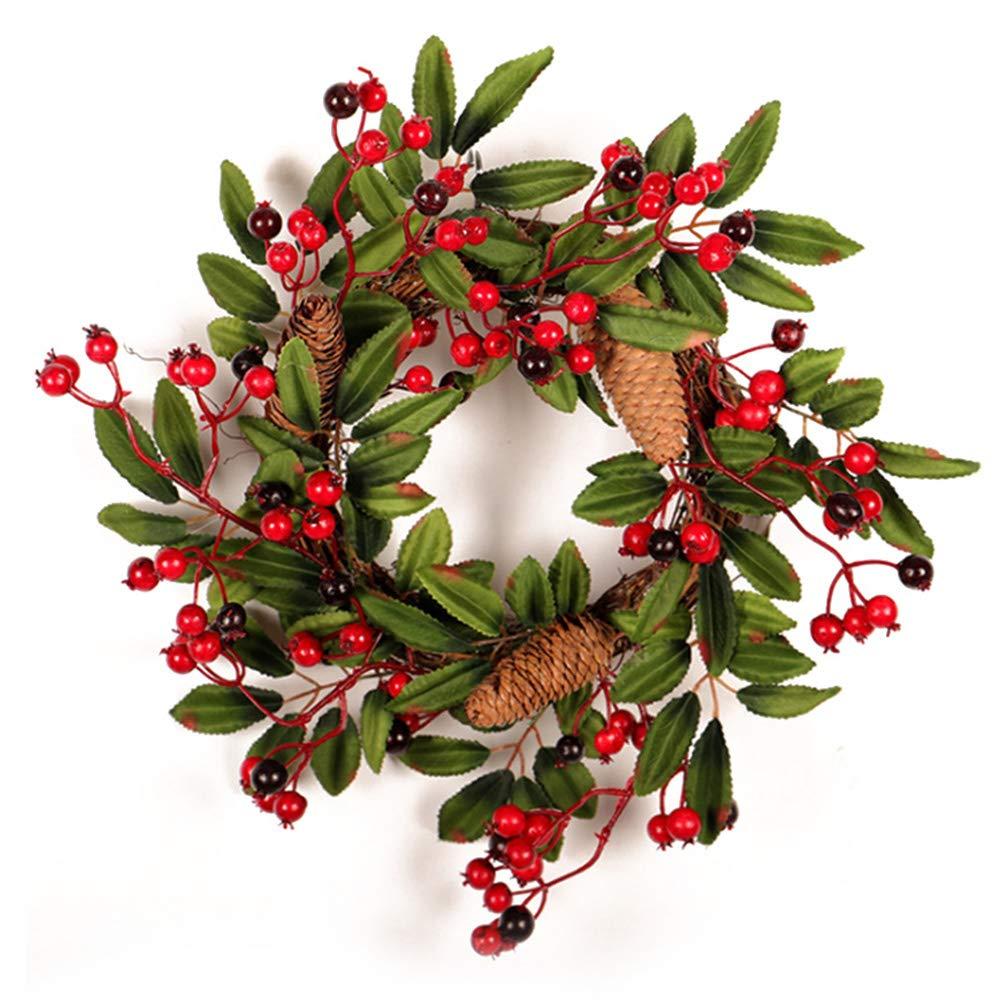 Door Wreath All Seasons 15.7 Inch Fall Door Wreath Berries, Pinecone Foliage Christmas Wreath Front Door Indoor Wall Décor RTWAY