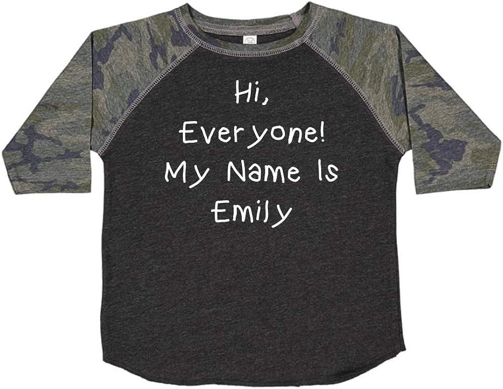 My Name is Emily Personalized Name Toddler//Kids Raglan T-Shirt Mashed Clothing Hi Everyone