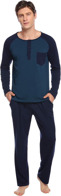Aibrou Pijama Hombre Algodón Largo 2 Piezas,Ropa de Dormir Causal Camiseta y Pantalones Cómodo cálido para Otoño e Invierno
