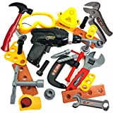 Kids Tool Set Toddler Toys - Skoolzy Construction Montessori Materials with Real Cordless Drill, Tape Measure, Screwdriver, Toy Hammer, Wrench, Nuts and Bolts | 29 Pretend Play Tools with Toy Storage