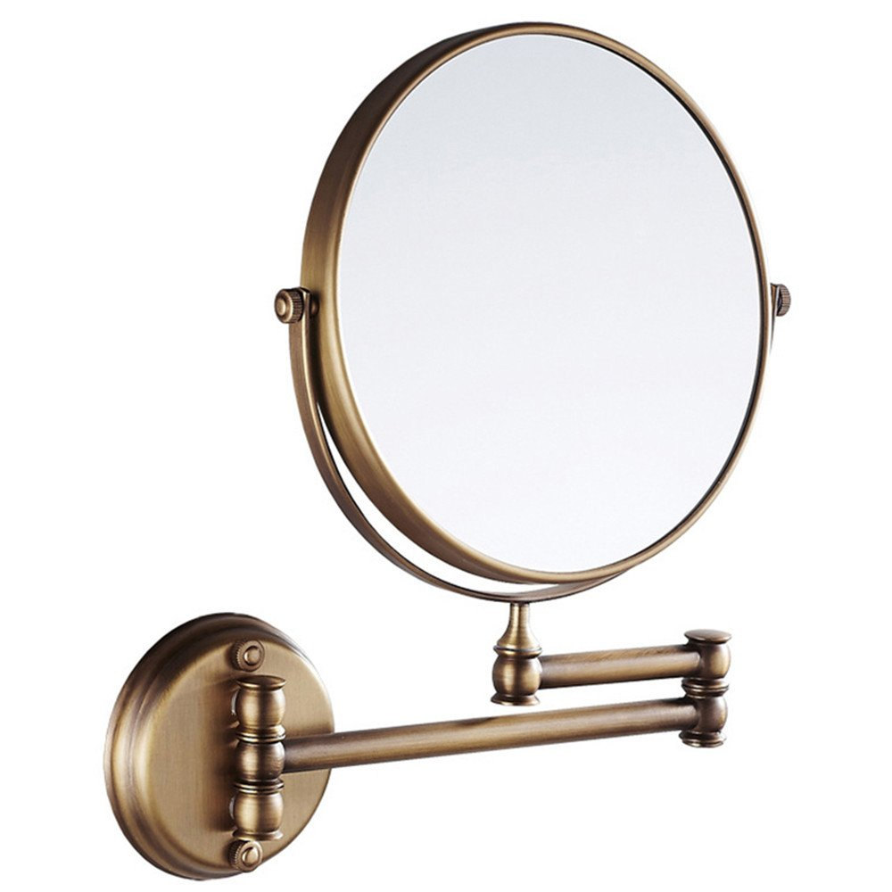 8 Inch Bathroom Mirror Dual Arm Extend 2 Face Round Copper Framed Make Up Mirror Chrome Wall Mounted 1X3X3 Magnifying,Antique