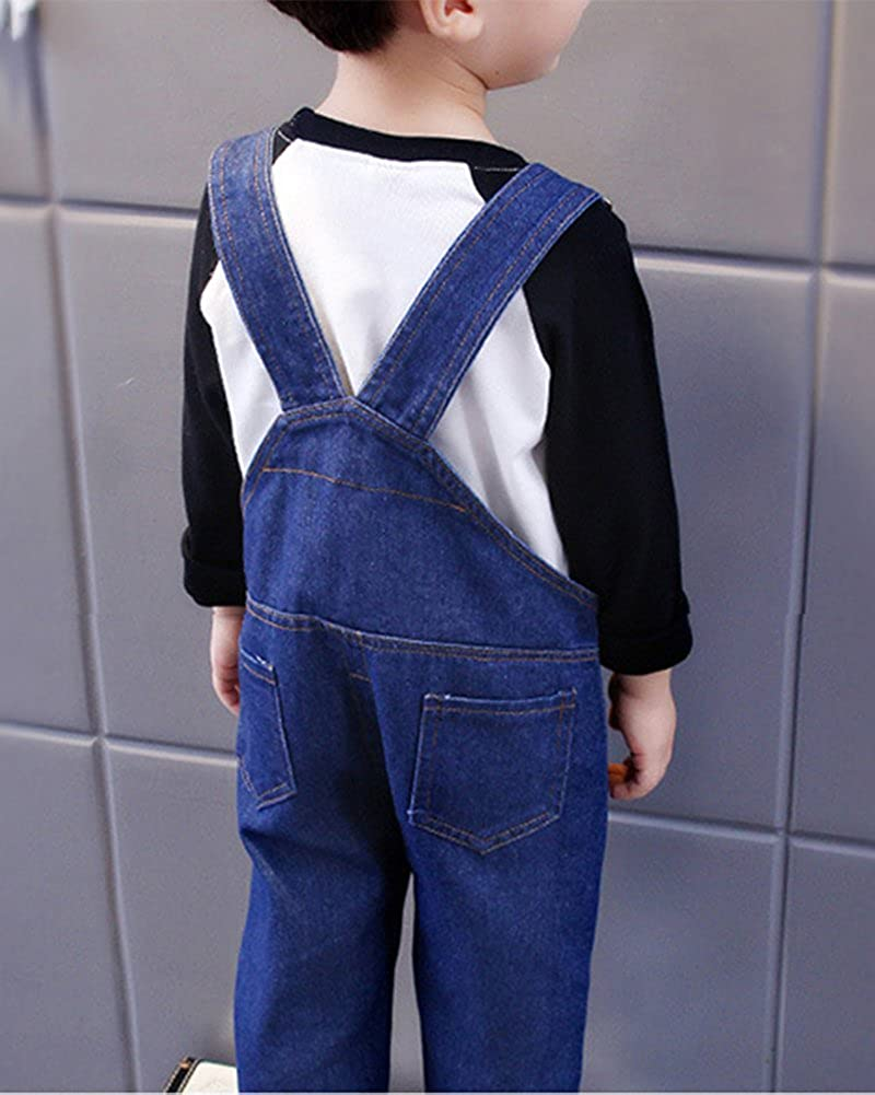 Childrens Denim Dungarees Straight Leg Jeans Bib Overalls Long Playsuits for Boys