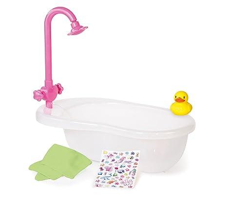Bayer Design 79100 - Badewanne Set mit Badeentchen, Badetuch und Sticker für Puppen bis circa 46 cm, weiß/pink