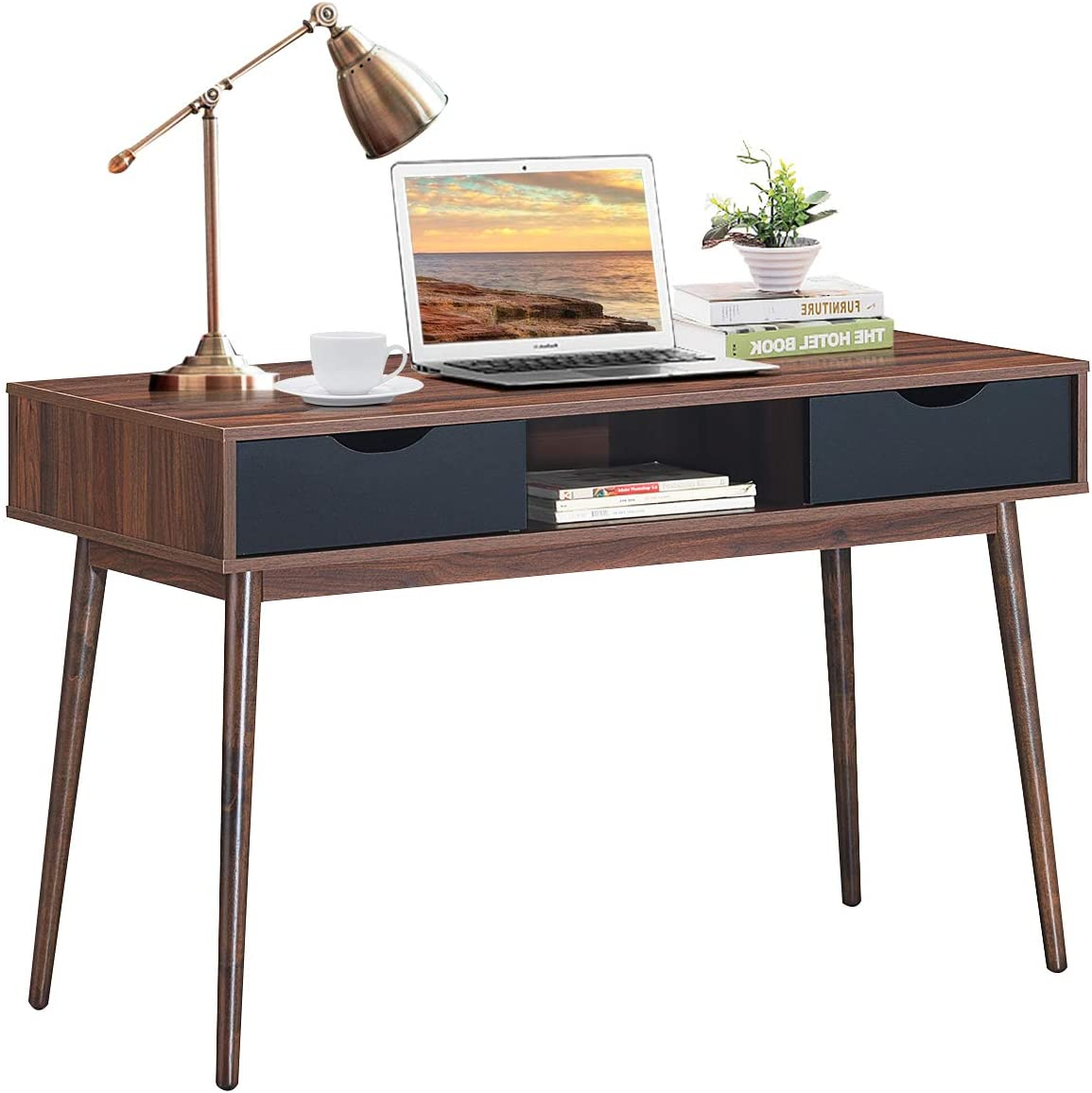 Tangkula Computer Desk with Drawers, Modern Home Office Desk Writing Desk with Spacious Desktop & Sturdy Construction, Compact Laptop Table Workstation, Desk for Bedroom Home Office (Walnut)