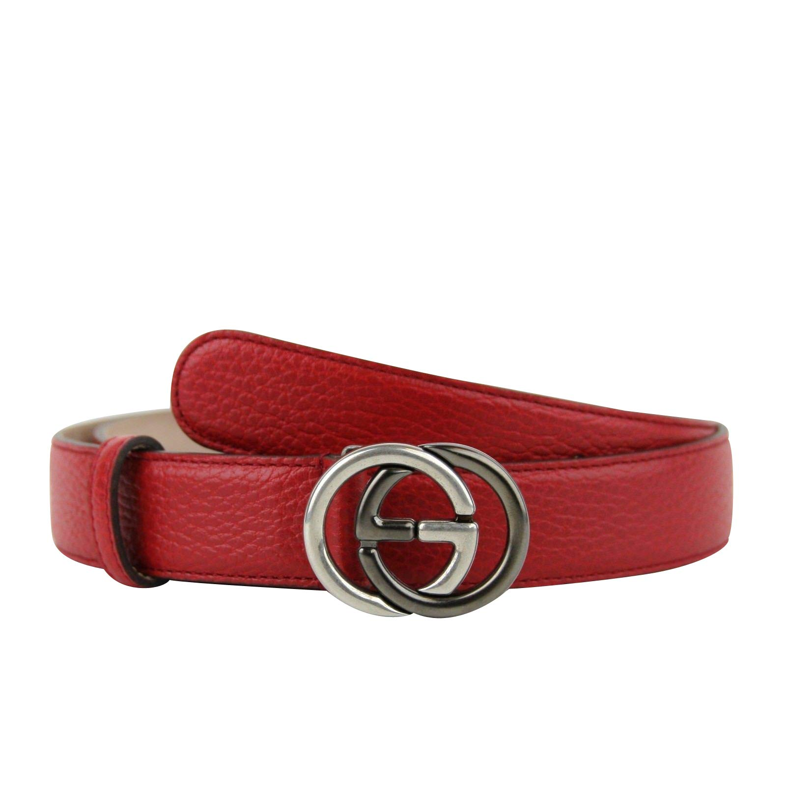 Gucci Unisex Interlocking G Red Leather With Silver/Black Buckle Belt 295704 6420 (105/42)