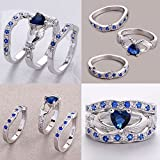 Sumanee Attractive Women Love Ring Clear Blue Zircon Silver Plated Chic 3 layers (7)
