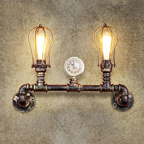 KMYX Vintage Water Pipe Double Headdress Antique Edison Industrial Wall Sconces Nostalgia Balcony Restaurant Bar Iron Pipe Light Wall Lamp Porch Loft Wall Lighting Fixture E27 (Excluding Bulbs)