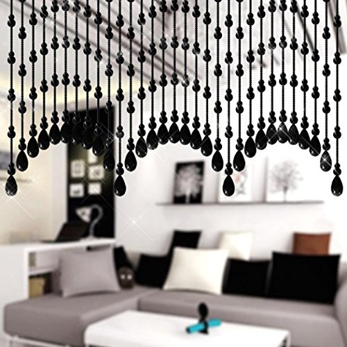 Price comparison product image Nesee Decor Curtain,Glass Gourd-shaped Beads String Tassel Curtain Wedding Divider Panel Room Decor (F)