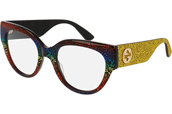 3bd105d2ebbb Image Unavailable. Image not available for. Color  Gucci Eyeglasses 0103  Yellow Rainbow Glitter RX Optical Frame 50mm