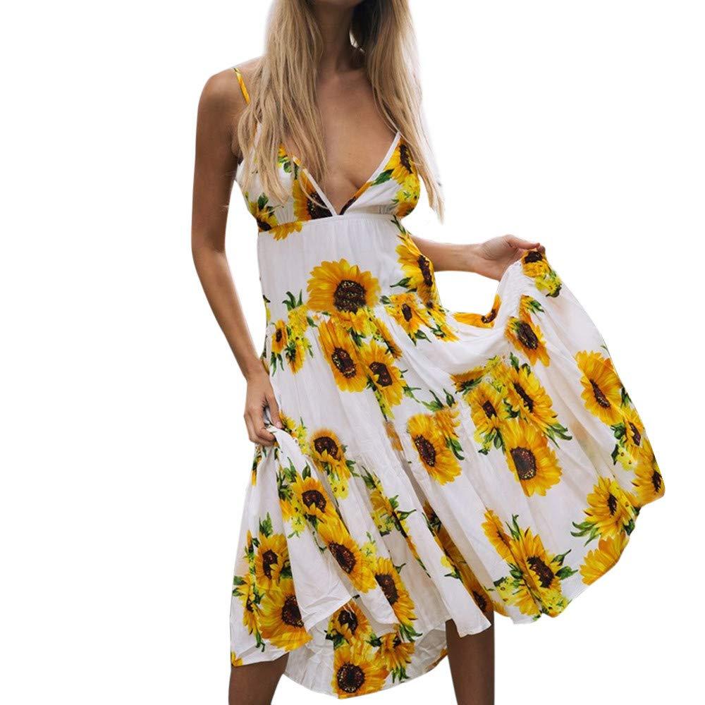 TWGONE Cold Shoulder Beach Maxi Dress Women Sexy Sunflower Print Deep V Neck Sleeveless Princess Dress(X-Large,White)