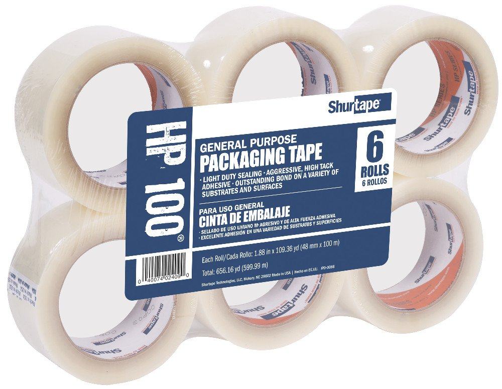 Shurtape HP 100 Light Duty Hot Melt Shipping and Packaging Tape, General Purpose, For Hand or Automated Sealing, 48mm x 100 Meters Per Roll, Clear, 6-Roll Pack (104301)
