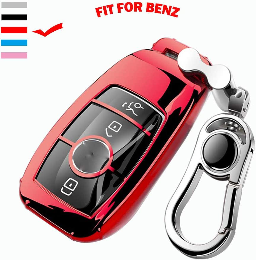 K LAKEY Car Key Fob Cover,Fit for Mercedes Benz C E S M CLS CLK G Class Key Fob,Smart Car Key Soft TPU Case Protector Key Fob with Alloy Keychain Silver Black, A