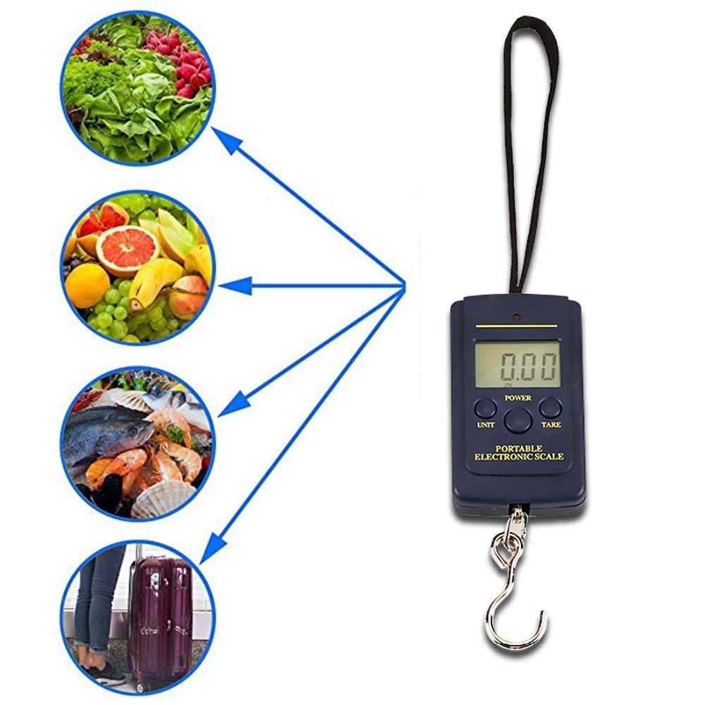 YAJAN-Weigh Portable Digital Luggage Scale Electronic Suitcase Scale Hanging Scales Luggage Weighing Scale 88lb/ 40kg Kilogram with Backlit with Tare Function Lightweight for Travel by YAJAN-Weigh