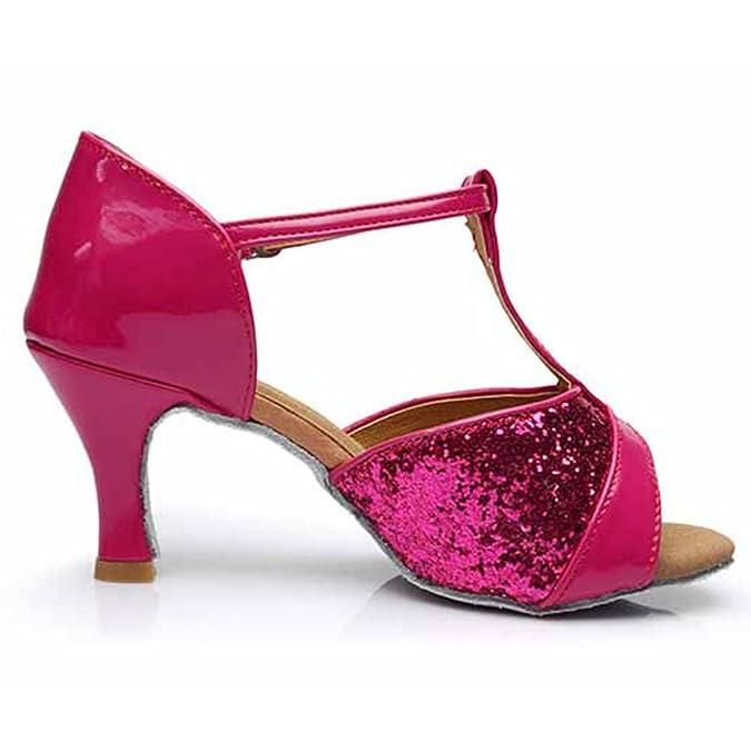 HROYL femenino ES7-F59 el Rosa sat¨ªn latino la danza el zapato 40 98ncw