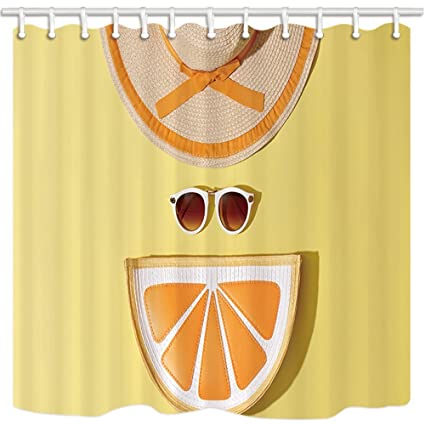 HiSoho Beach Summer Fruit Shower Curtains For Bathroom Fashion Woman Sunhat Sunglasses Orange In Yellow