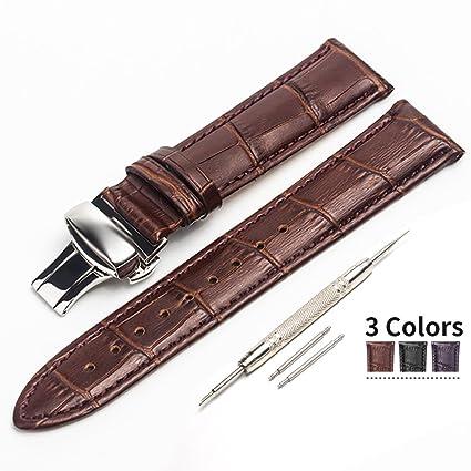 4dc6d0a75d0a Beiding - Correa de reloj de cuero con cierre de mariposa, 18 mm, 20 mm y  22 mm, para reloj tradicional o inteligente, color negro, marrón y café