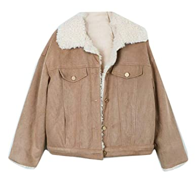 eb27e634129d BU2H Womens Winter Lamb Wool Lined Thicken Corduroy Quilted Jacket Coats  Two OS
